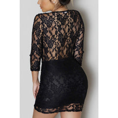 Black Lace V-Neck Mini Dress  Sale LAVELIQ - LAVELIQ - 3