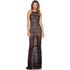Black Open Back Maxi Evening Dress  LAVELIQ - LAVELIQ - 1
