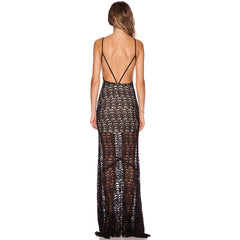Black Open Back Maxi Evening Dress  LAVELIQ - LAVELIQ - 2