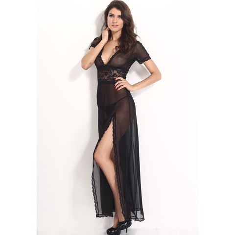 Long Black V Neck Lingerie Gown LAVELIQ