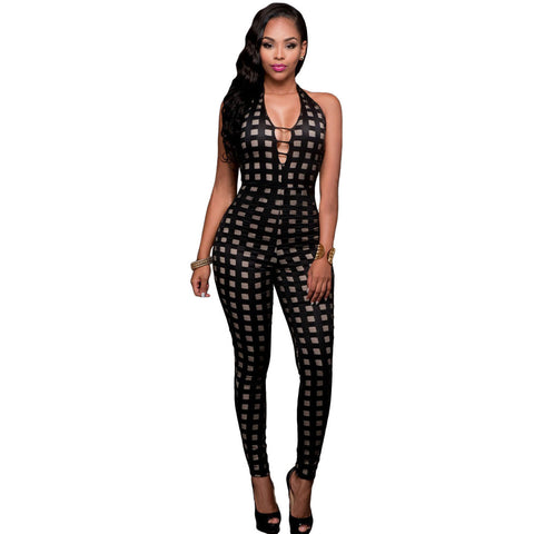 Black Nude Illusion Checkered Jumpsuit LAVELIQ