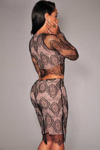 Black Nude Illusion Delicate Lace Skirt Set LAVELIQ