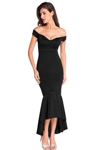 Black Off-Shoulder Maxi Dress LAVELIQ