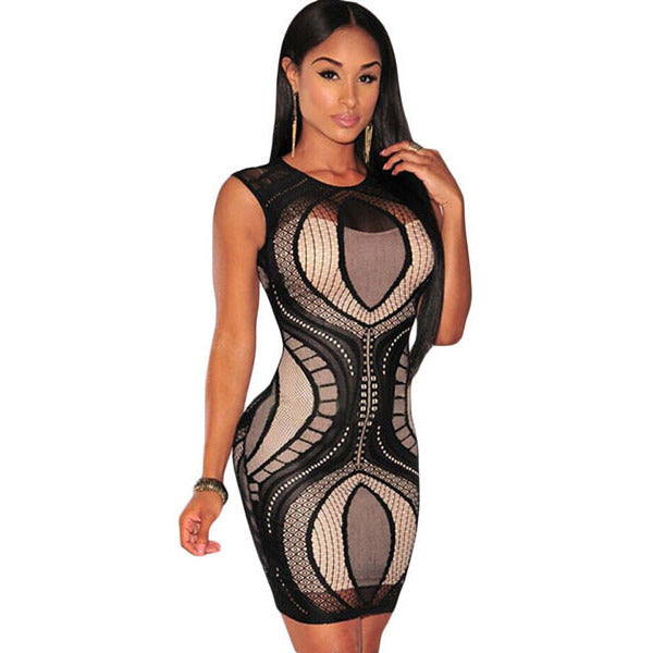 Black Lace Nude Illusion Sleeveless Dress LAVELIQ - LAVELIQ - 1