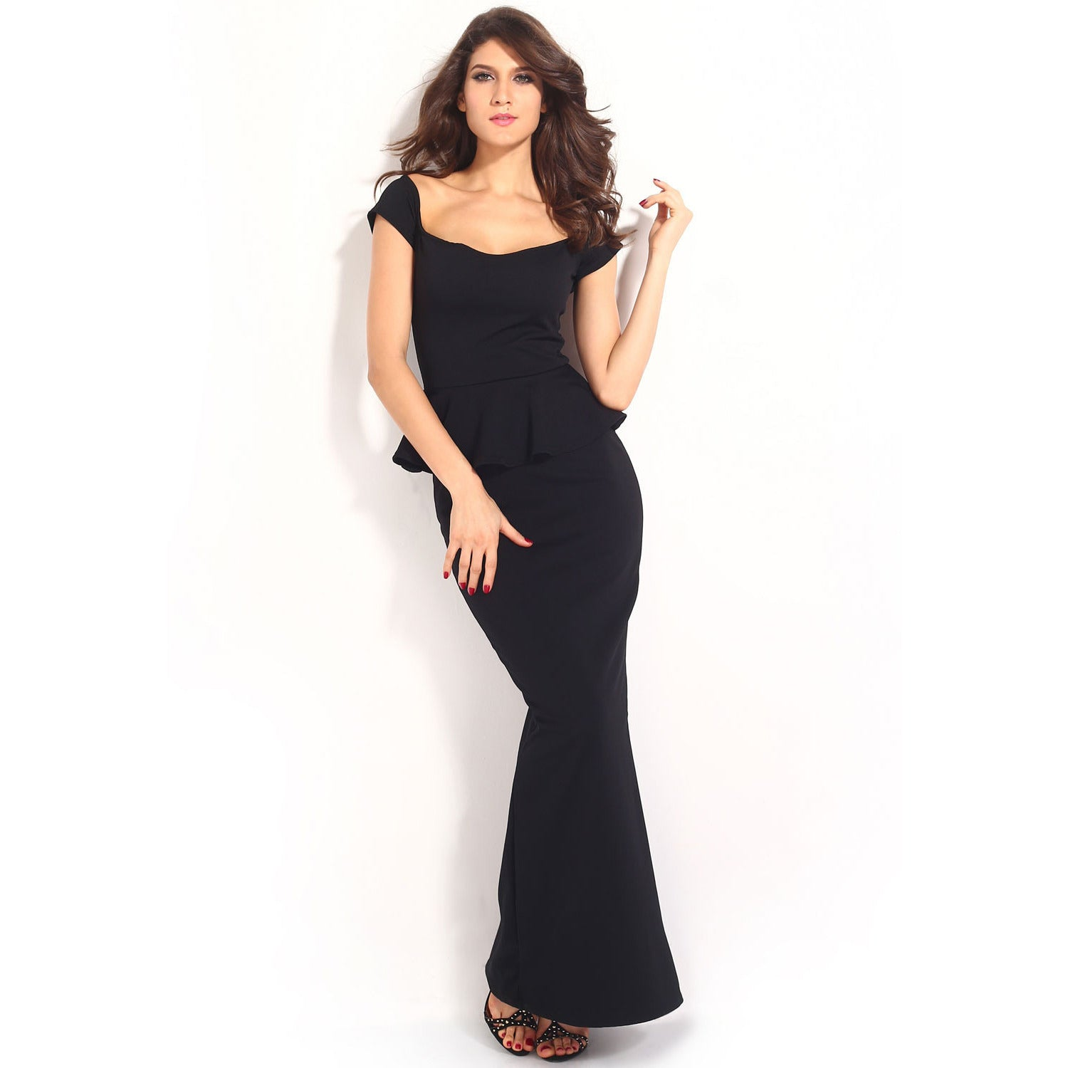 Black Peplum Maxi Dress With Drop Shoulder LAVELIQ - LAVELIQ - 4