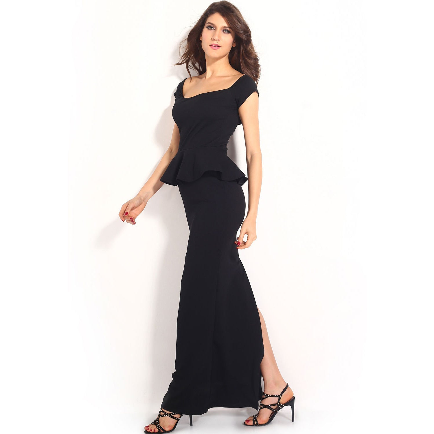 Black Peplum Maxi Dress With Drop Shoulder LAVELIQ - LAVELIQ - 6