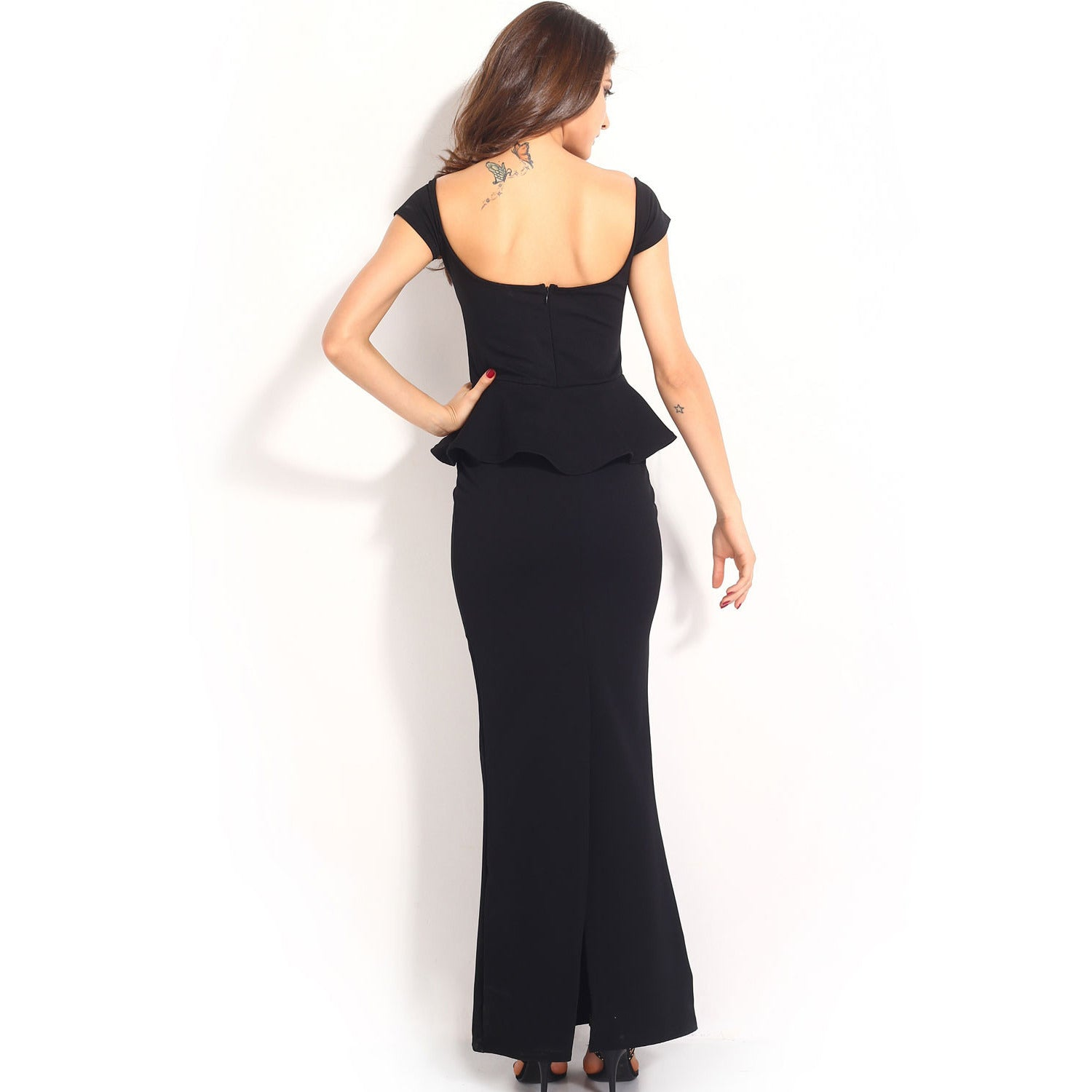 Black Peplum Maxi Dress With Drop Shoulder LAVELIQ - LAVELIQ - 7