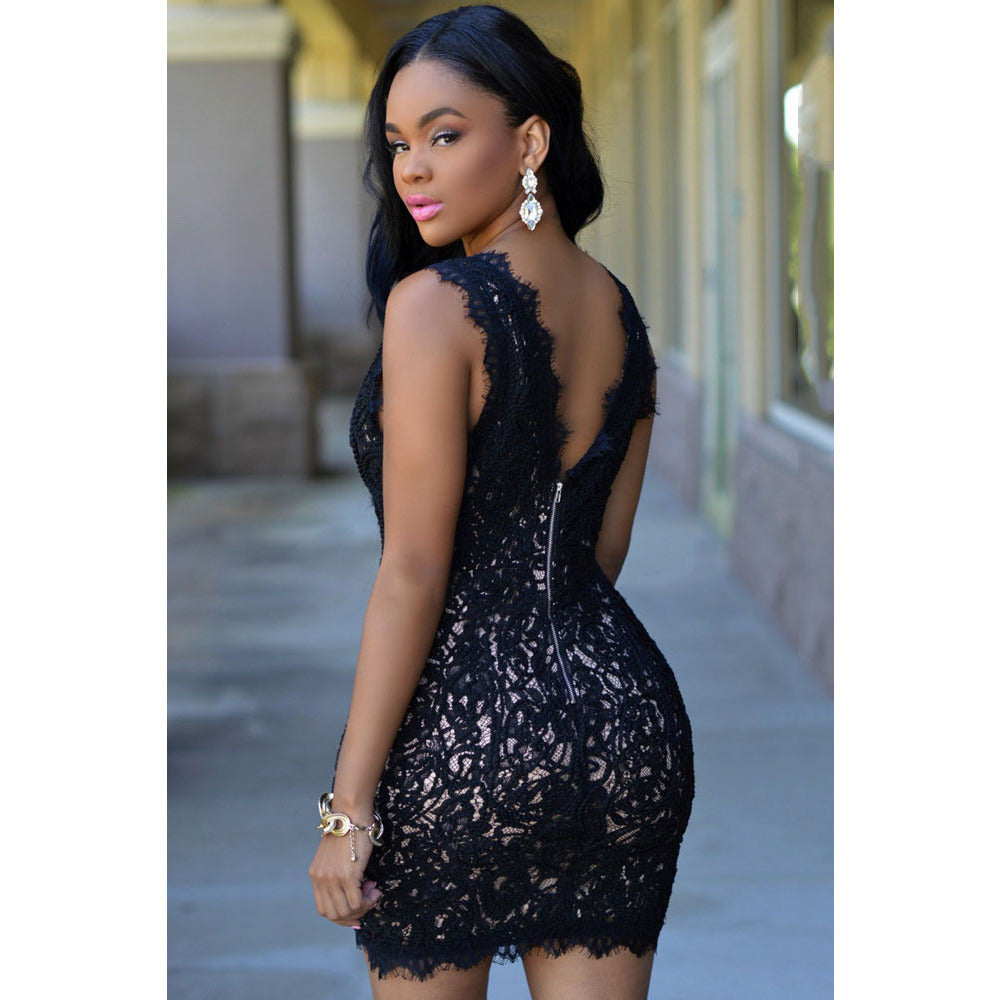 Black V Neck Lace Crochet Mini Dress LAVELIQ - LAVELIQ - 2