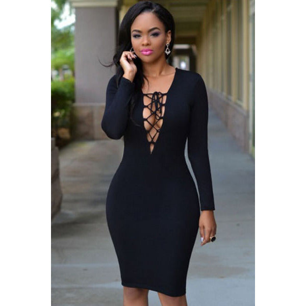 Black Plunging Neck Dress LAVELIQ - LAVELIQ - 1