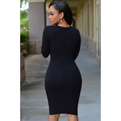 Black Plunging Neck Dress LAVELIQ - LAVELIQ - 2