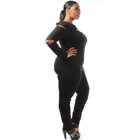 Black Plus Size Slit Long Sleeve Jumpsuit LAVELIQ