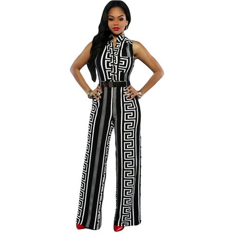 Black Print Belted Jumpsuit Sale LAVELIQ