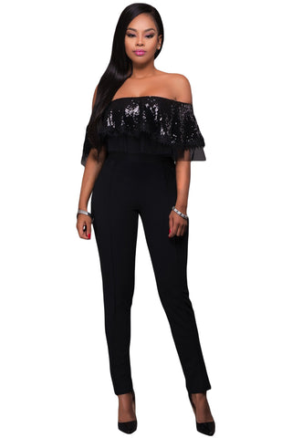 Black Sequin Ruffle Jumpsuit LAVELIQ