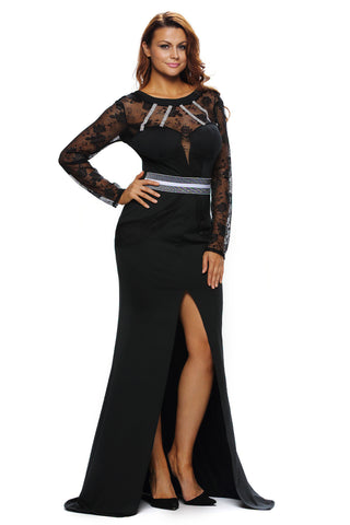Black Sheer Lace Long Sleeve Front Dress LAVELIQ