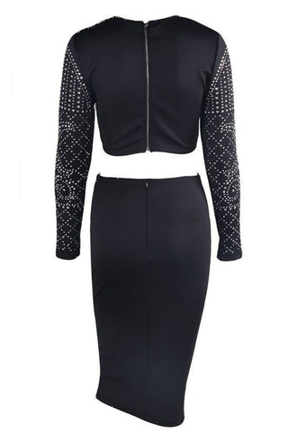 Black Studded Long Sleeve Two Piece Skirt Set LAVELIQ