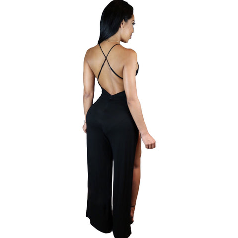 Black Twist Abdomen Backless Jumpsuit LAVELIQ