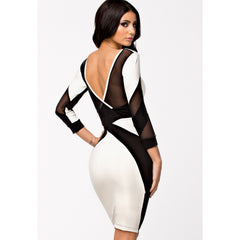 Stylish Long Sleeve Black And White Midi Dress LAVELIQ - LAVELIQ - 2