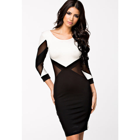 Stylish Long Sleeve Black And White Midi Dress LAVELIQ