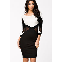 Stylish Long Sleeve Black And White Midi Dress LAVELIQ - LAVELIQ - 3