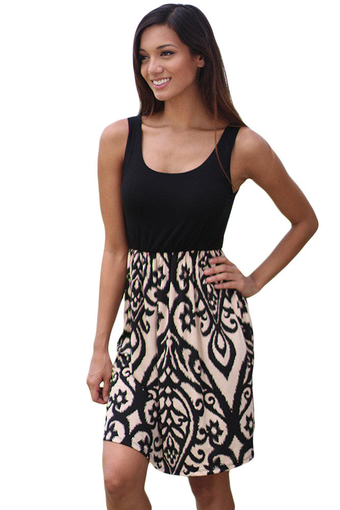 Black And Aqua Printed Short Dress LAVELIQ