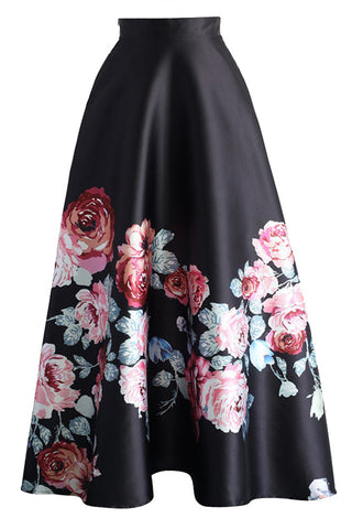 Blossoming Black High Waist Maxi Skirt LAVELIQ