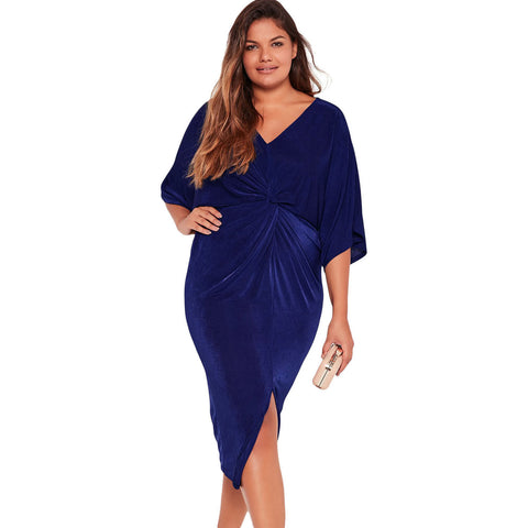 Blue Knotted Pleated Front Plus Size Midi Dress LAVELIQ