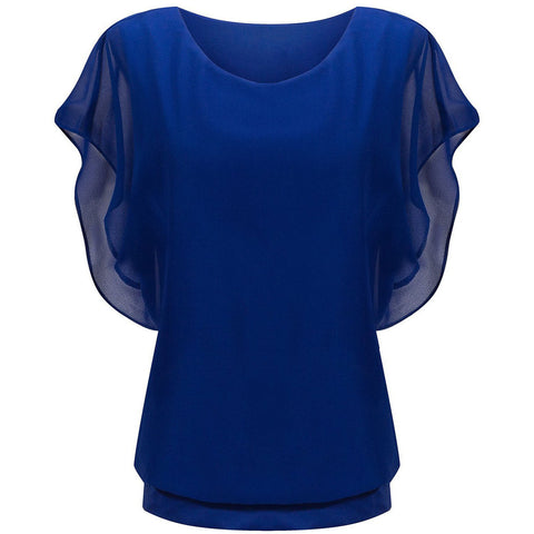 Blue Loose Casual Short Sleeve Top T-Shirt Blouse LAVELIQ