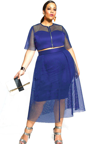 Blue Mesh Joint Plus Crop Top Skirt Set LAVELIQ