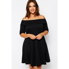 Boat Neck Black Skater Plus Size Dress Sale LAVELIQ - LAVELIQ - 1