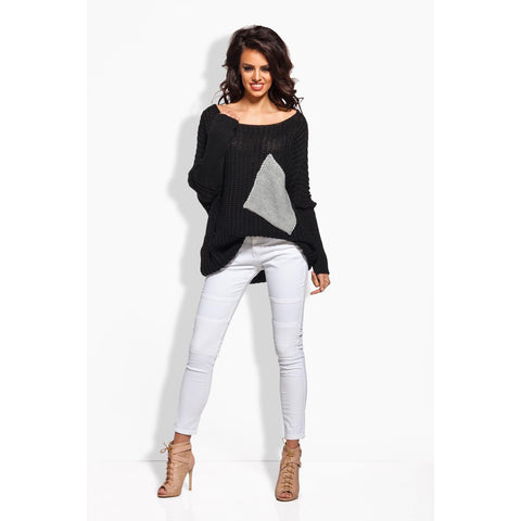 Plus Size Black Sweater With Pockets LAVELIQ