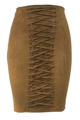 Brown Lace Up Eyelet Faux Suede Midi Skirt LAVELIQ