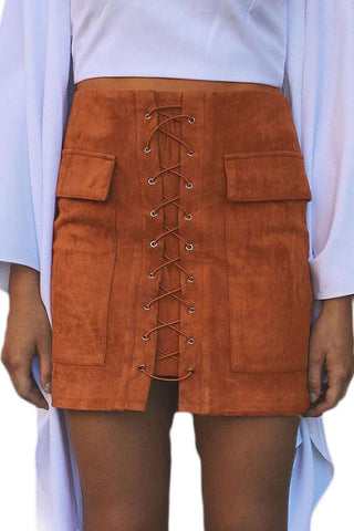 Brown Suede Lace Up Front Mini Skirt LAVELIQ