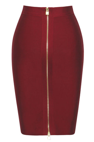 Burgundy Double Zip Slit High Waist Bandage Skirt LAVELIQ