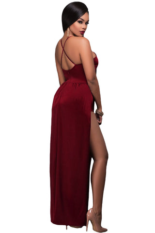 Burgundy Lace Up Maxi Romper Dress LAVELIQ