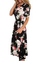 Casual Pocket Design Black Floral Dress LAVELIQ