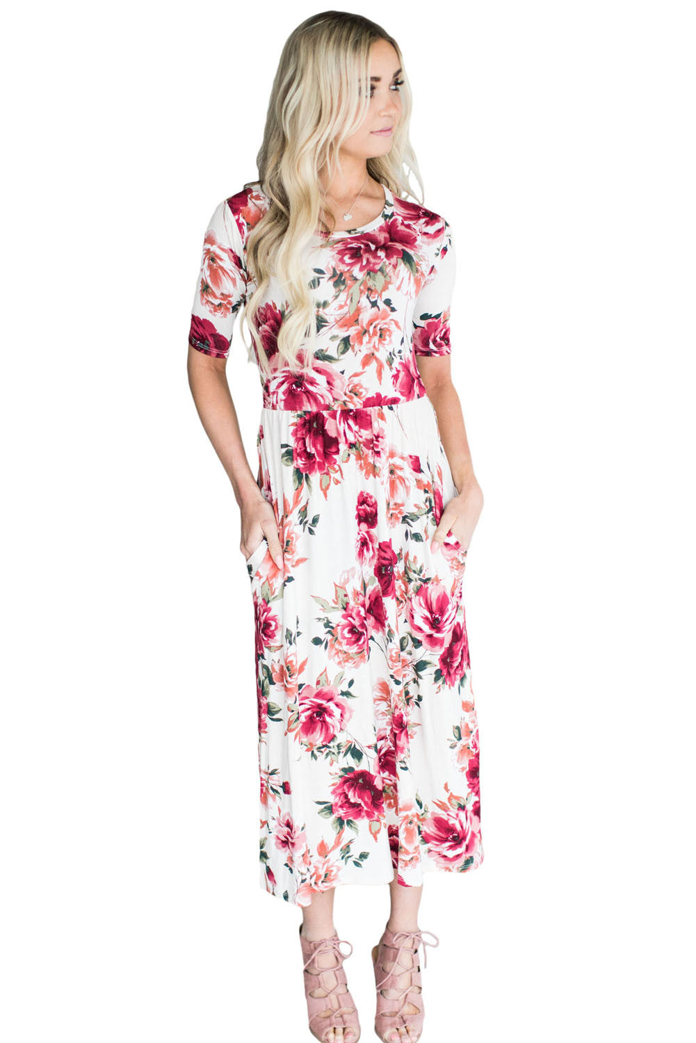 Casual Pocket Design Blooming Floral Dress LAVELIQ