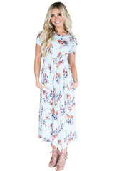 Casual Pocket Design Light Blue Floral Dress LAVELIQ