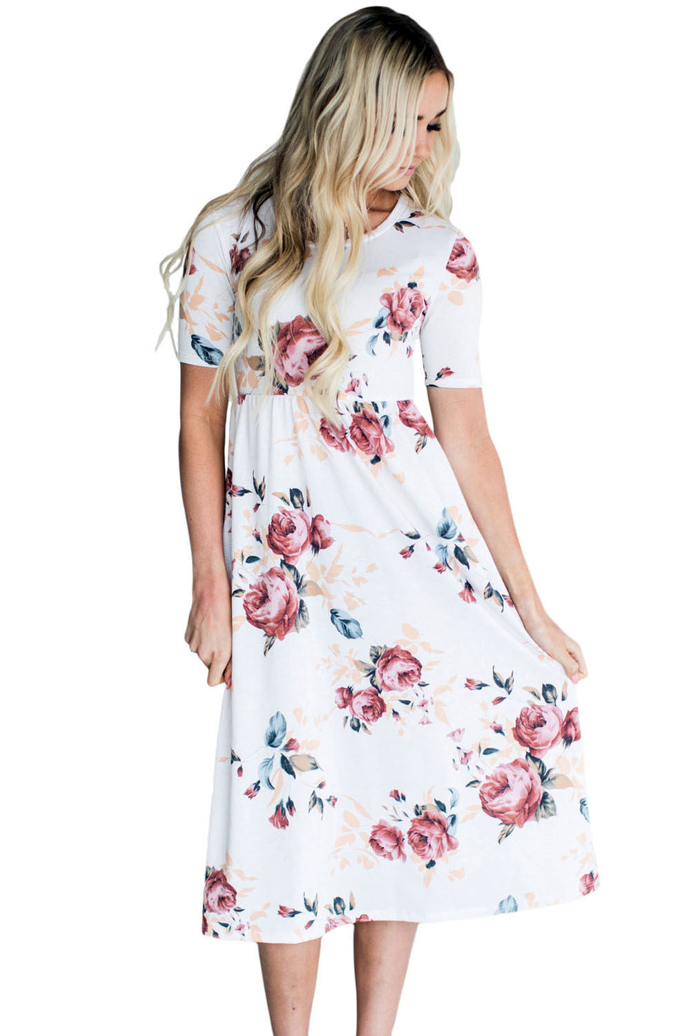 Casual Pocket Design White Floral Dress LAVELIQ