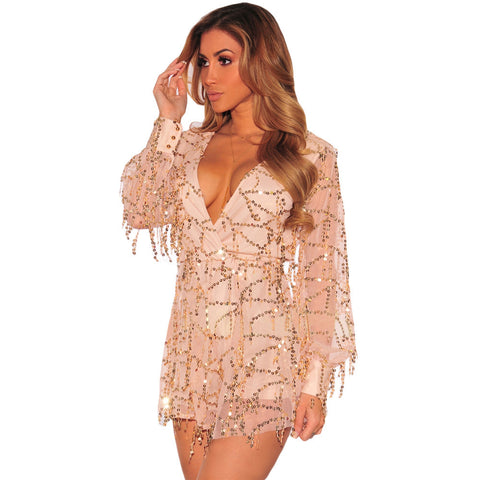 Flowing Sequins Long Sleeves Romper LAVELIQ