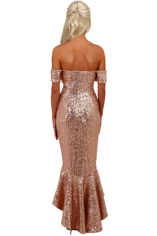 Champagne Off Shoulder Sequins Dress LAVELIQ