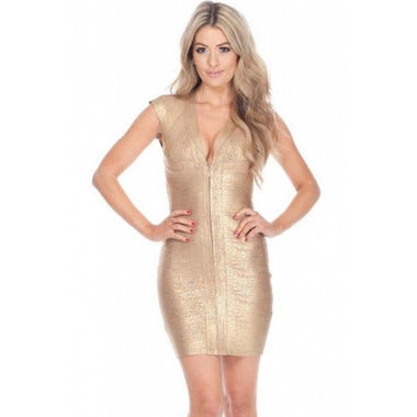V Neck Gold Bandage Dress LAVELIQ SALE - LAVELIQ - 1