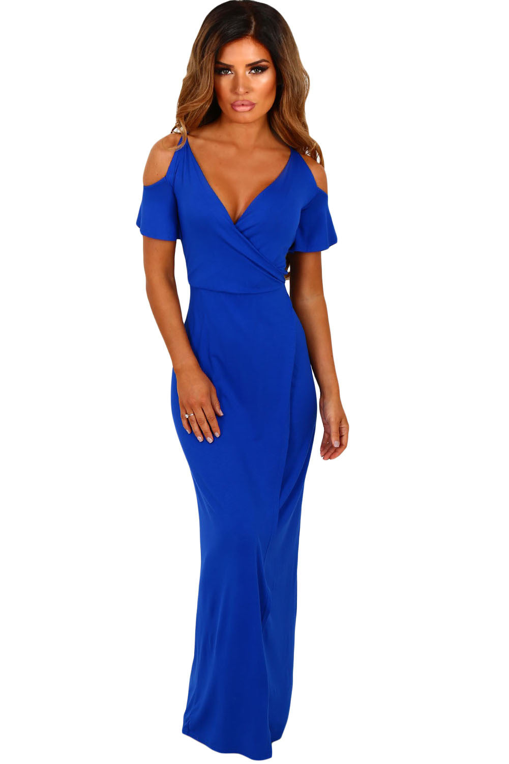 Cobalt Blue Cold Shoulder Long Jersey Dress LAVELIQ
