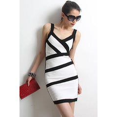 V Neck White Bandage Dress LAVELIQ  - LAVELIQ - 1