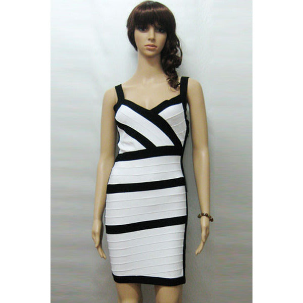 V Neck White Bandage Dress LAVELIQ  - LAVELIQ - 2