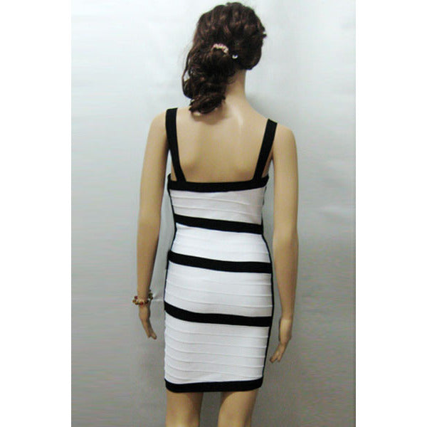 V Neck White Bandage Dress LAVELIQ  - LAVELIQ - 3
