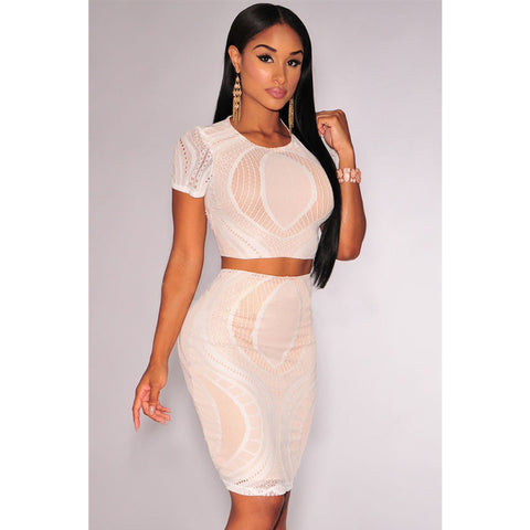Cream Optical Lace Crop Skirt Set LAVELIQ