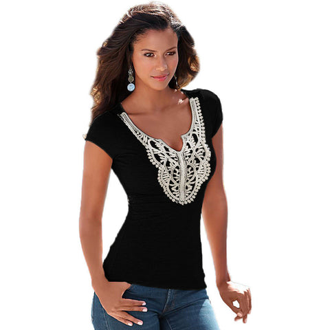 Crochet Lace Black T-Shirt LAVELIQ