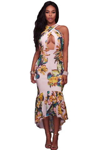 Crossed Neck Keyhole Front Floral Mermaid Dress LAVELIQ