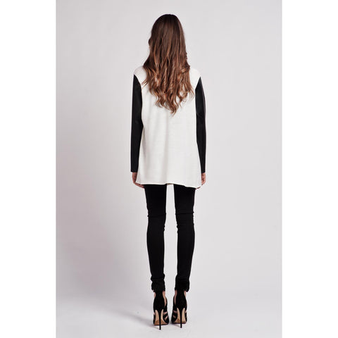 Leather Sleeves Zipper White Cardigan LAVELIQ