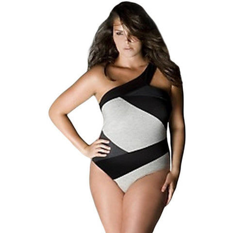 Curvy Beauty Black White One Shoulder Monokini Plus Size Swimwear LAVELIQ